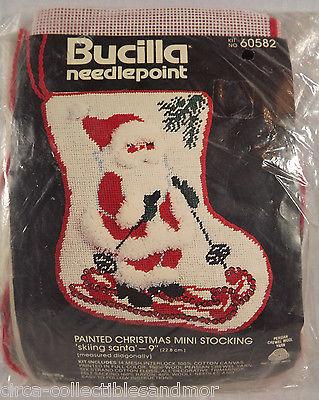 Bucilla Skiing Santa Needlepoint Painted Canvas Christmas