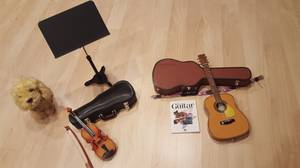 American Girl Doll Dog, Guitar, Violin, Music Accessories and Dog (Olney