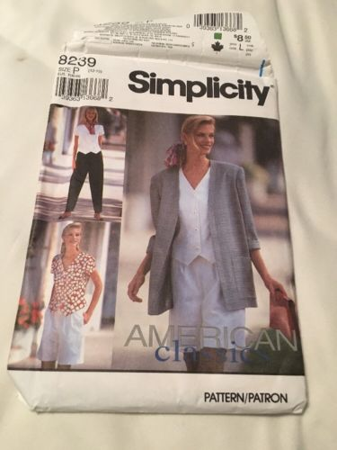 Simplicity Sewing Pattern 8239 Misses Pants Shorts Unlined