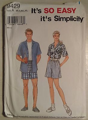 Simplicity #9429 Men's or Misses' Sizes Xs-Xl Pull on Shorts
