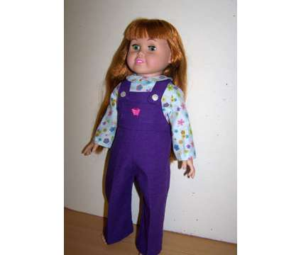 Doll Purple Overalls & Printed Shirt for 18 inch girl doll such as American Girl