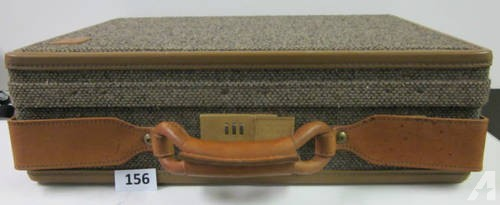 156-J) Hartman Tweed/Leather Briefcase with Lock