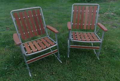 Two Vintage Redwood Patio / Yard Rocking Chairs..Aluminum