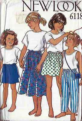 SKIRT Pants SHORTS PATTERN New Look 6118 CHILDS Kids SZ 3 to