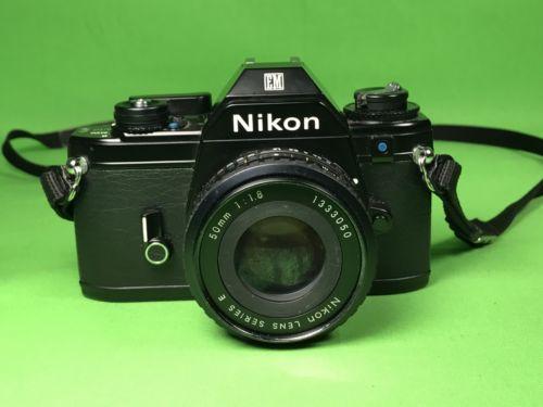 Nikon EM 35mm SLR Film Camera w/50mm f/1.8 series E lens
