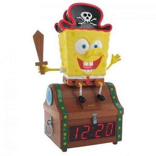SpongeBob Clock Radio Kids Alarm Treasure Boys Chest