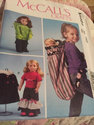 McCall's M6854 Clothes and backpack For 18 In Doll Fits