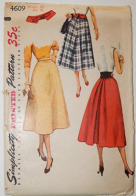 Vintage '50s Simplicity Sewing Pattern 4609 Misses' Skirt