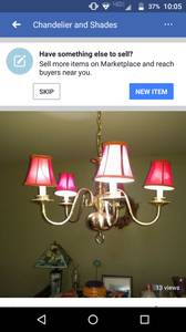 Dining Light Chandelier Brass with Shades