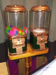 Double Candy/Gumball Dispenser on Wood Stand (Federal Heights)