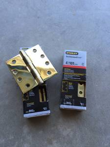Stanley Architectural Grade 4 inch Polished Brass Door Hinges (6) (Playa Vista)