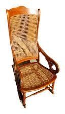 Lincoln Style Wooden Cane Rocker