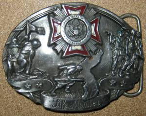 Vintage (circa 1987) Veterans of Foreign Wars Life Member Belt Buckle
