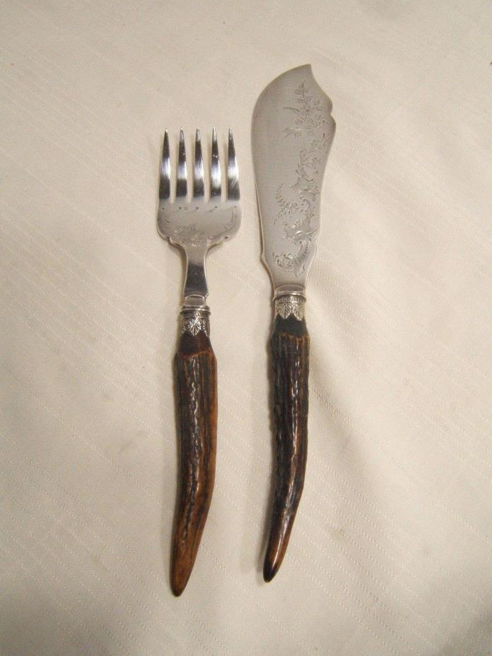 ENGLISH SILVERPLATE & STERLING FISH SET STAG HORN HANDLES ANTIQUE