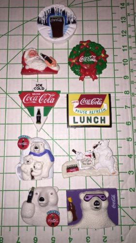 1990'S COCA COLA  ADVERTISING REFRIGERATOR MAGNETS LOT 9 BEAR Coke Glass Santa