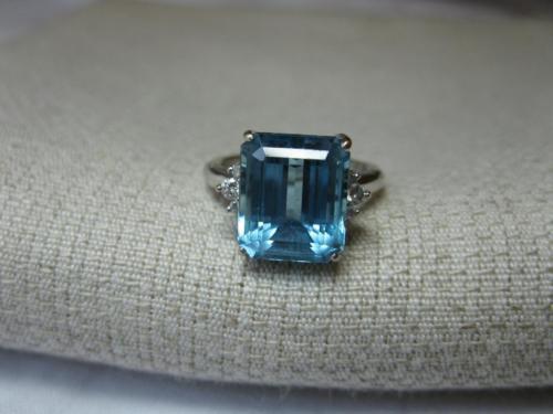 Diamond Topaz Engagement Wedding Ring 18K London Blue Exact Fit Hollywood Regenc