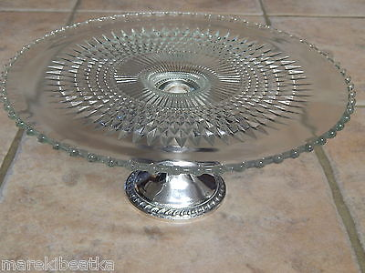 BEAUTIFUL DUCHIN STERLING SILVER & CANDLEWICK  BEADED GLASS CAKE  PLATE