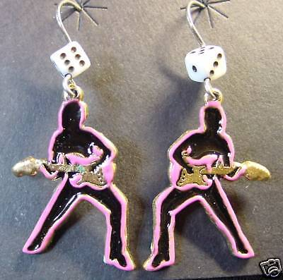 GUITAR PLAYER ROCK & ROLL EARRINGS Silouette 50's Rocker Dice Charms Dangle NOS