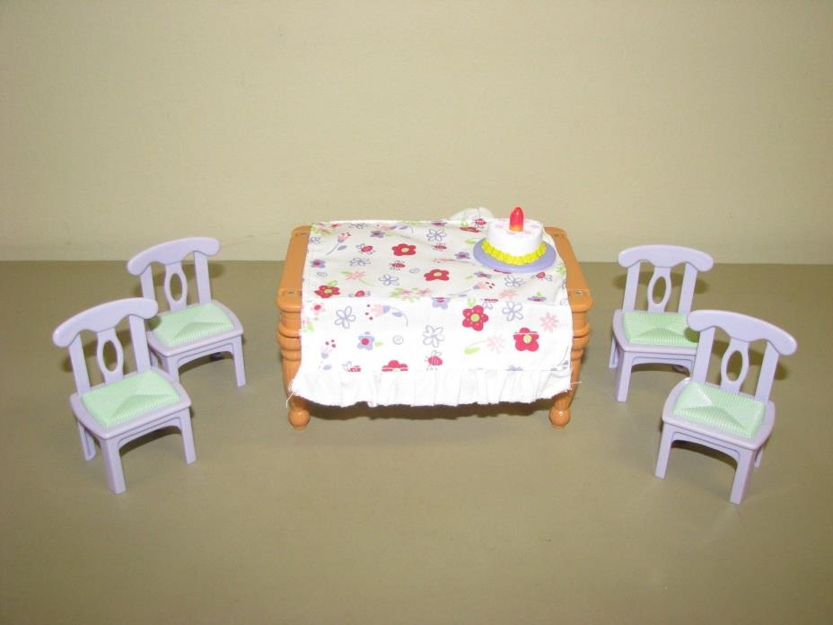 Fisher Price Loving Family Dollhouse Dining Room Table Chairs furniture music