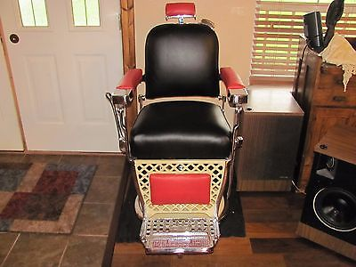Antique Barber Chair  PAIDAR Restored Complete Real Leather PRICE REDUCED