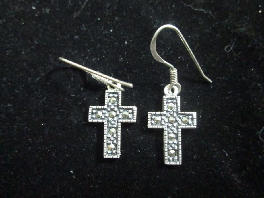 VINTAGE STERLING SILVER MARCASITE CROSS EARRINGS