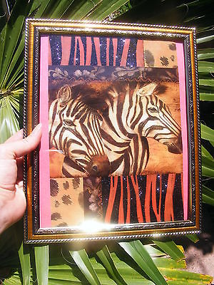 SAFARi ZEBRAS ~DECORATiVE Gold Framed picture, Vintage style