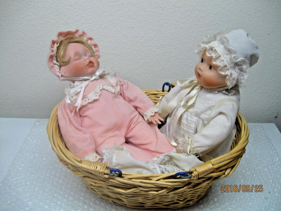 Kathy Hippensteel Catherine's Christening Elizabeth's Homecoming Dolls in Basket