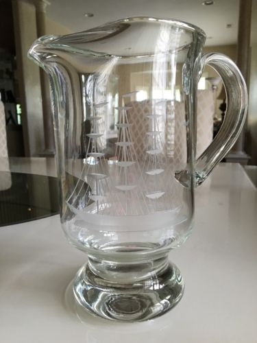 Vintage Etched Glass Sailboat Pitcher