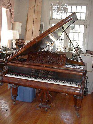 ANTIQUE GRAND PIANO BURLWOOD
