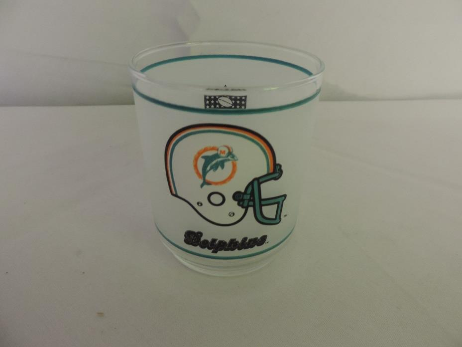 Vintage 1970's MIAMI DOLPHINS Mobil Oil NFL Frosted Rock Glass 14oz