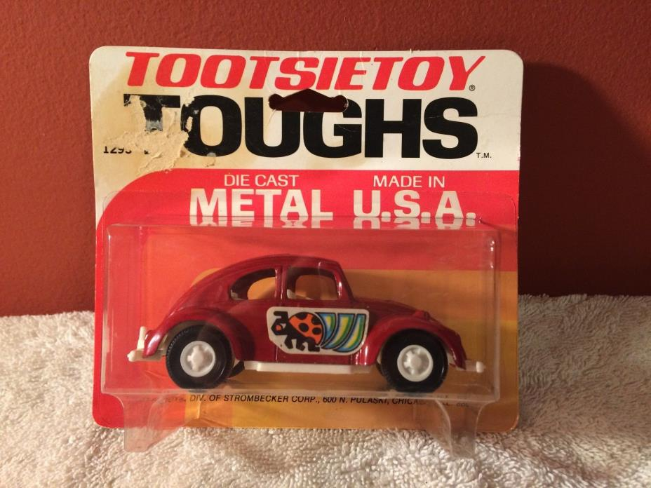 RARE Vintage Tootsietoy Toughs Volkswagen VW Bug Beetle Red MOC Made in USA