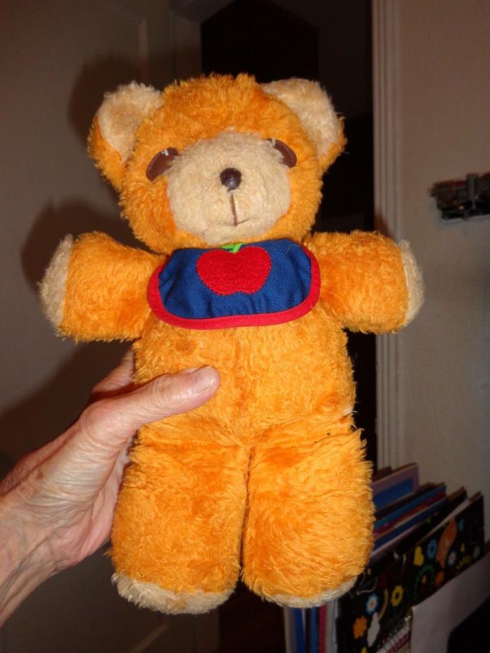 Fisher Price 1975 FREDDY Orange Bear Plush 418 Bib Squeaker Mexico