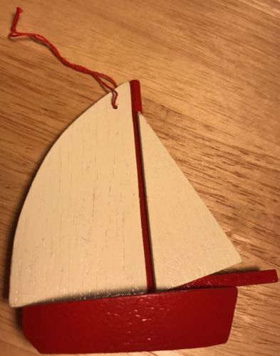 Vintage Wooden Ornament Midwest Sailboat Nautical Theme Wood Christmas Taiwan