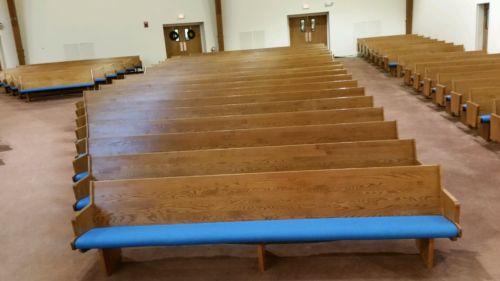 Solid Wood Church Pews Oak Backs 1600 Linear Feet Excellent..Available Feb 12