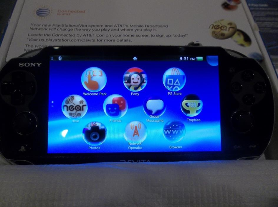 SONY PLAYSTATION VITA PS VITA CRYSSTAL BLACK 3G WIFI ATT PCH-1101 22032 NEW