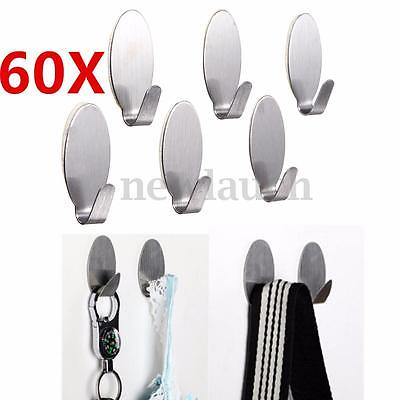 60 X Adhesive Stainless Steel Cabinet Towel Racks Wall Hook for Kitchen Bathroom
