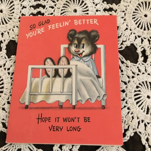 Vintage Greeting Card Get Well Cute Bear In Hospital Bed