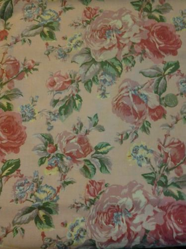 Vintage  1950's  Fabric  pink Roses  100 percent  cotton  3 Yards  ,59