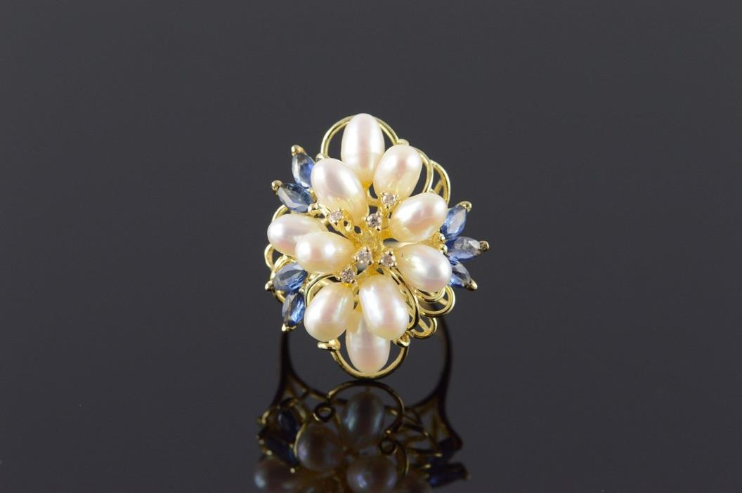 14K 5mm Pearl Sapphire Diamond Floral Motif Ring Size 6.75 Yellow Gold
