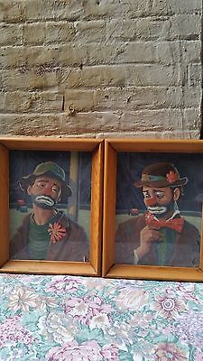 2 Vintage  Sad Clown Framed Painting Picture Wall Hanging