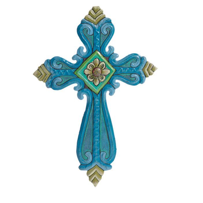 Blue Fleur Flower Cross Wall Art Handcrafted Metal Fair Trade Decor
