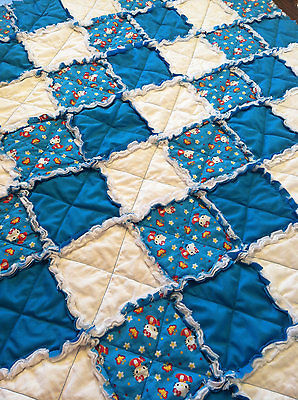 Hello Kitty Turquoise & White Rag Quilt Homemade Flannel & Cotton *NEW