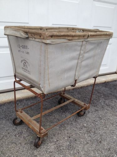 Vintage Canvas Metal Basket Laundry Cart on Casters Industrial