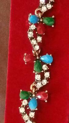 Vintage Look Fashion Jewelry Silver Bracelet. Red, green and gold.