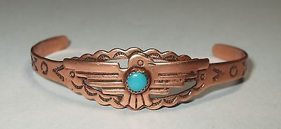 Vintage Copper Turquoise Thunderbird Navajo Native SW Carve Cuff Bangle Bracelet