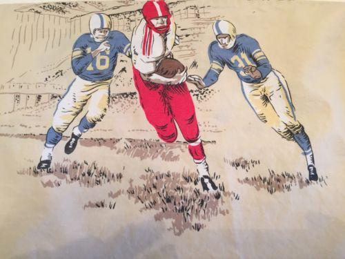 COMPANY STORE Vintage Soft Cotton FOOTBALL Scene Sheet Set Twin
