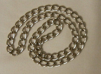 Endless Curb Chain Bold Heavy Silver Tone 2mm 24 Inch Necklace - No Clasp