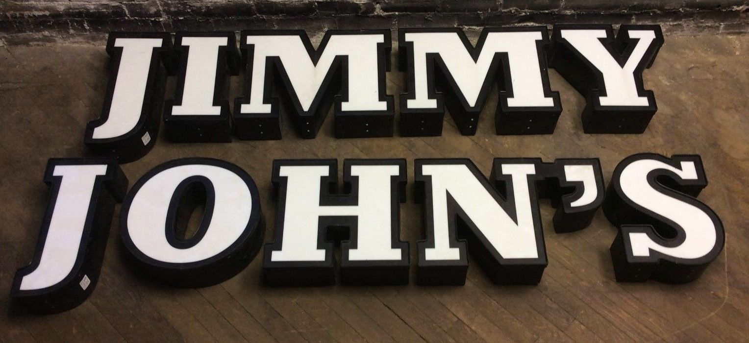Jimmy John's Genuine Large Exterior Aluminum Sign Channel Letters w/ Covers