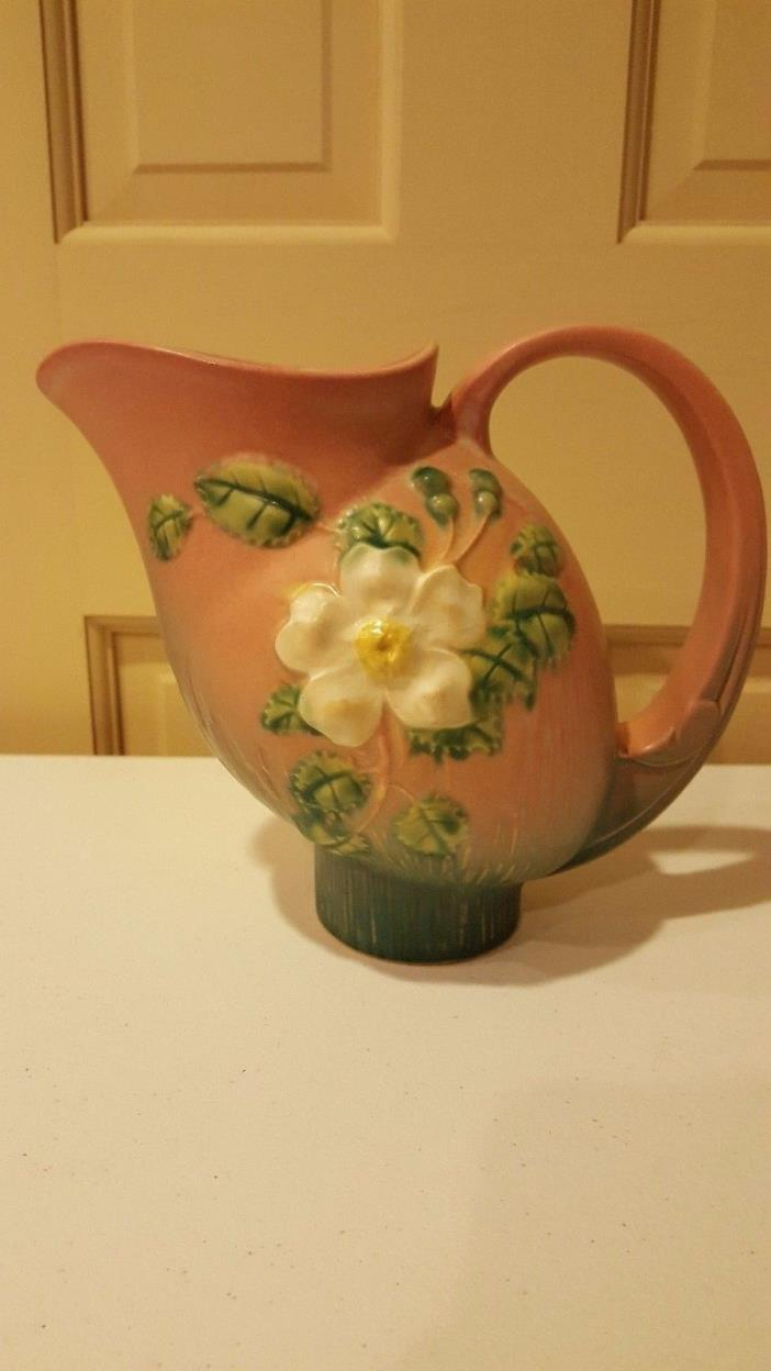 ROSEVILLE POTTERY WHITE ROSE PINK PITCHER  # 1324