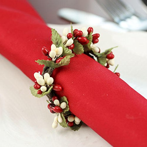 Group of 4 Plump Red and Cream Pip Berry Miniature Candle or Napkin Rings for